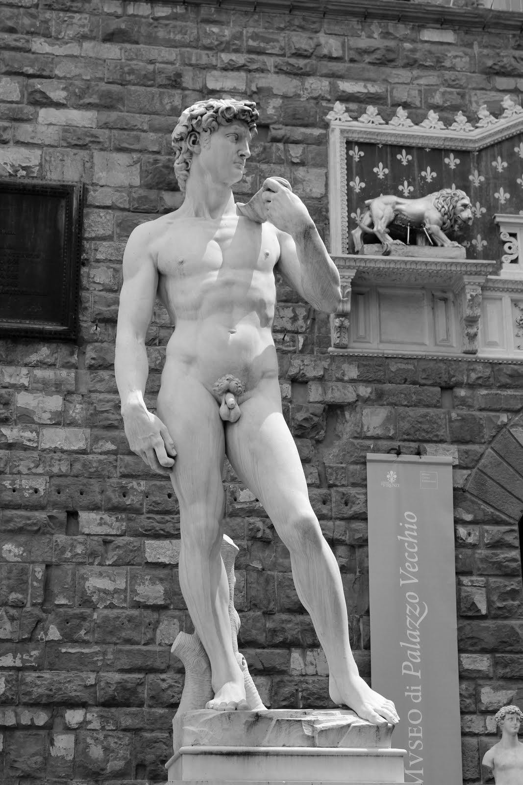 Statue of David by Michelangelo in black and white