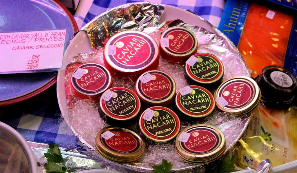 Caviar sold at the La Boqueria Market