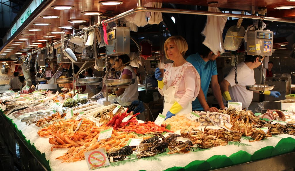 Fresh seafood found in La Boqueria Market