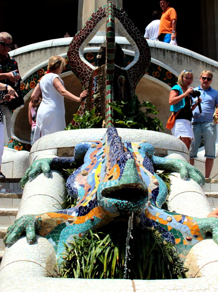 The Salamder in Park Guell which was designed by Gaudi. The Salamander is a Masonic symbol