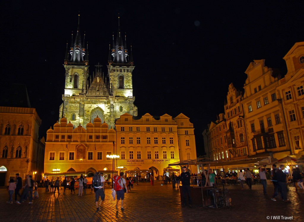 Prague's Old Town Square lights up at night.