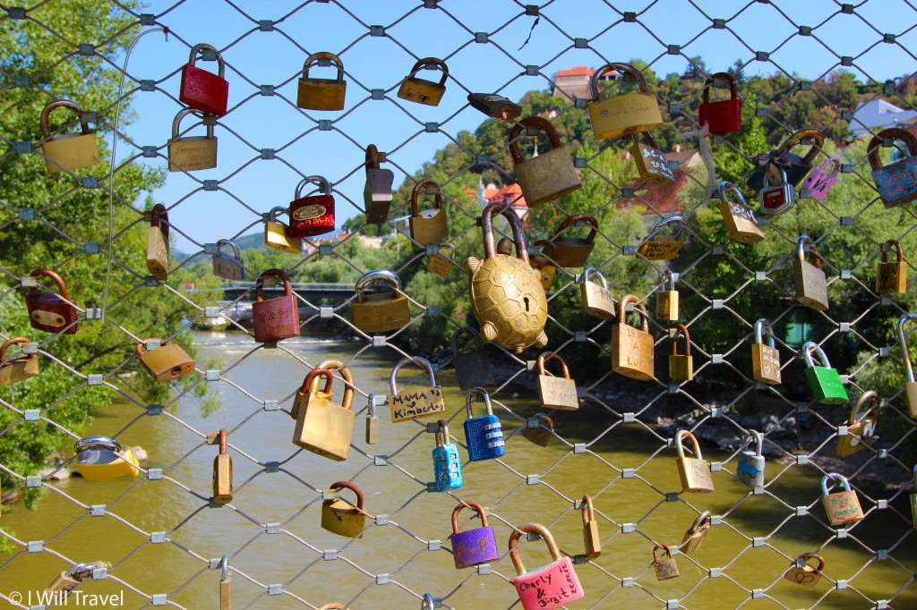 Love locks at the Hauptbrücke / Main bridge in Graz