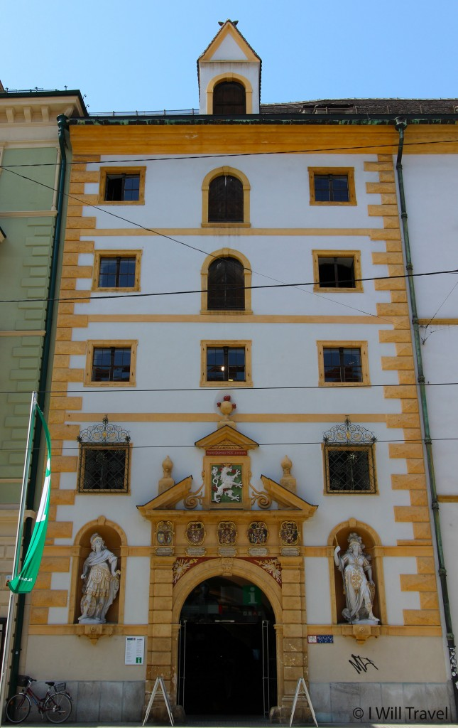 The facade of the Graz Tourism office building.