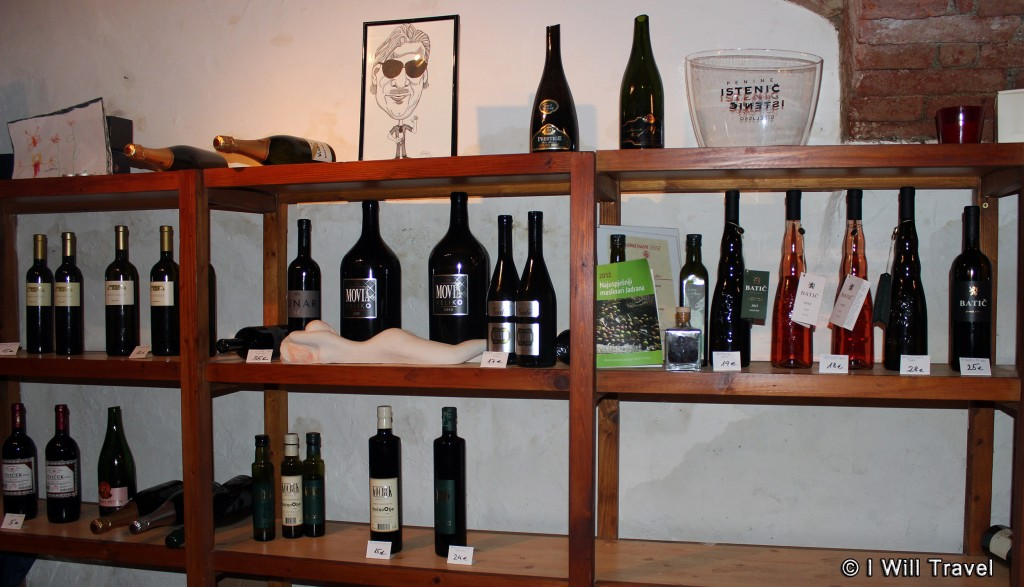 More shelves with Slovenian wines and spirits