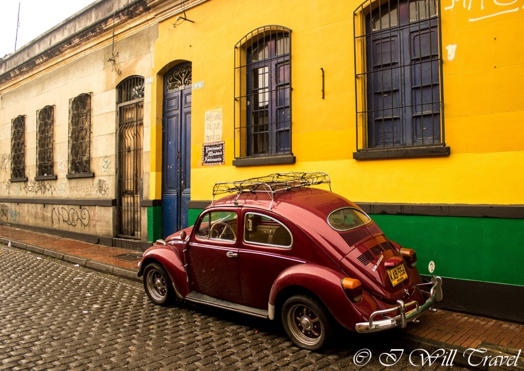 A volkswagen bettle parked on the streets of La Candelaria, Bogota