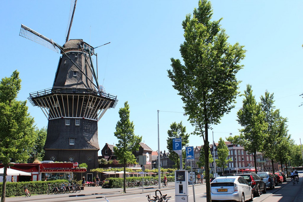 The De Gooyer Windmill in Amsterdam.