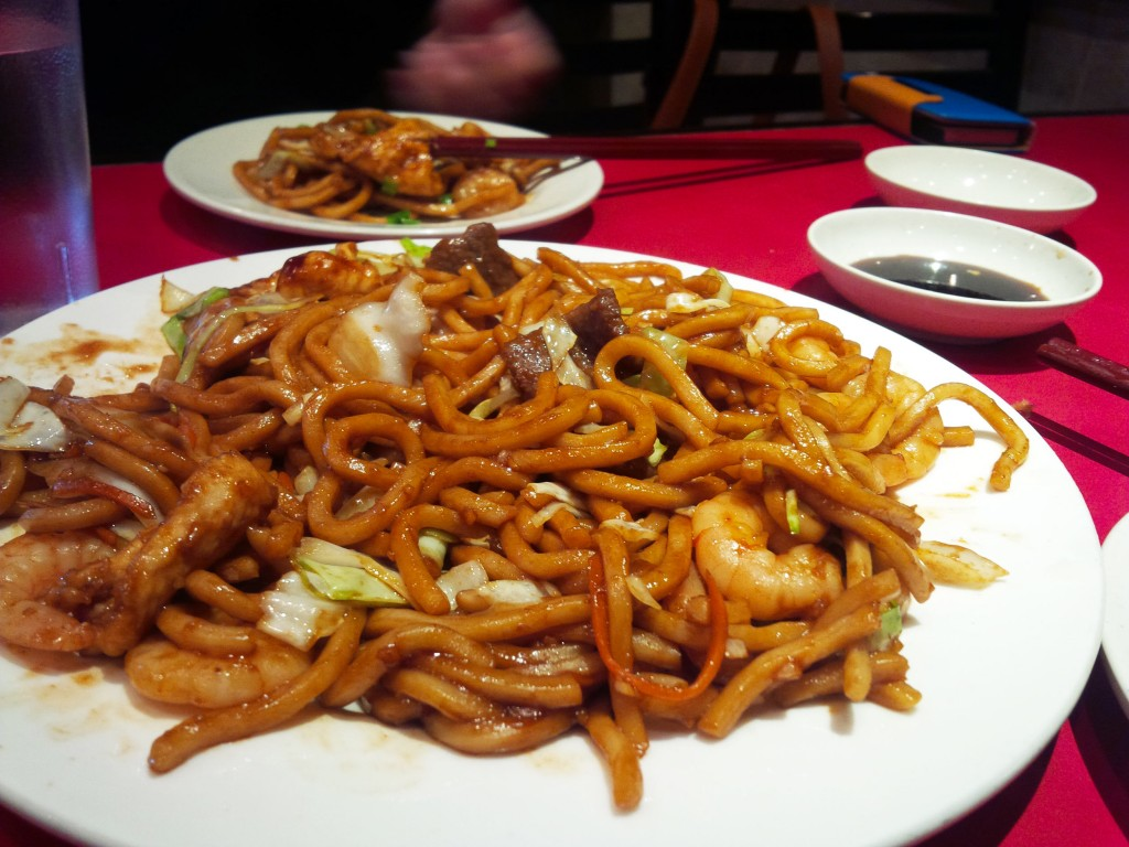The House Noodles dish.  Golden stir fried noodles with shrimp, beef, and chicken.