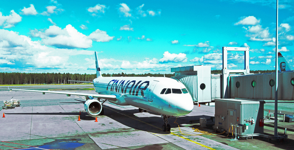 Finnair airplane at one of the gates of Pearson airport