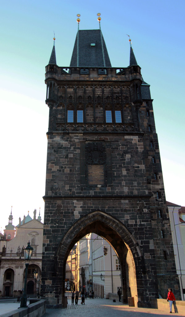 The western façade of the Old Town Bridge Tower