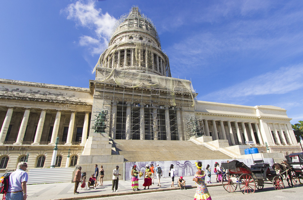 El Capitolio, or National Capitol Building in Havana, Cuba, was the seat of government in Cuba until after the Cuban Revolution in 1959.