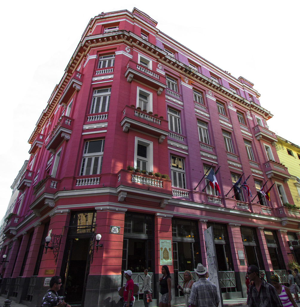 The outside front view of the Hotel Ambos Mundos, in Havana Cuba.