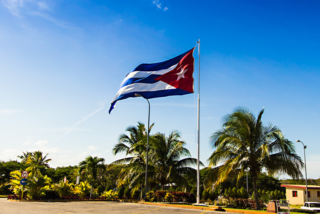 The cuban flag outiside the Varadero airport.