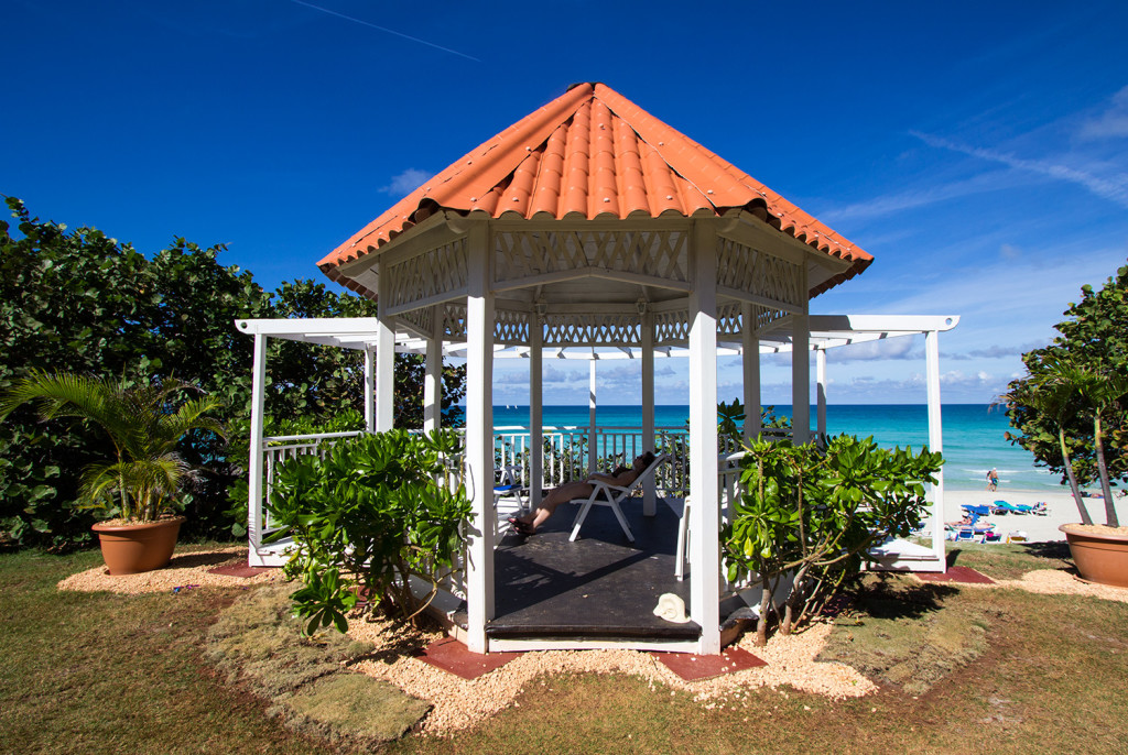 A beautiful canopy located on the grounds of Breezes Bella Costa resort.