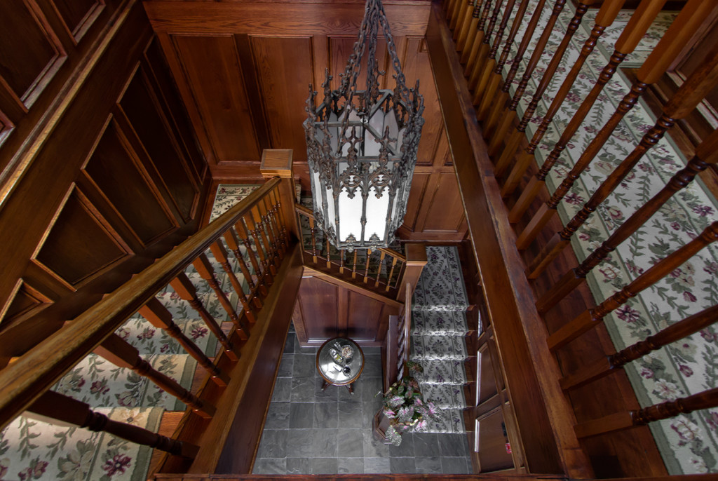 Stairwell inside BranCliff Inn leading up to the rooms on the second floor.