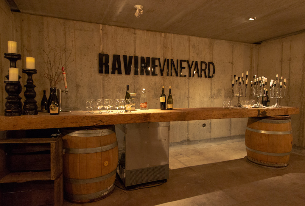 Inside one of the cellars of Ravine Vineyard