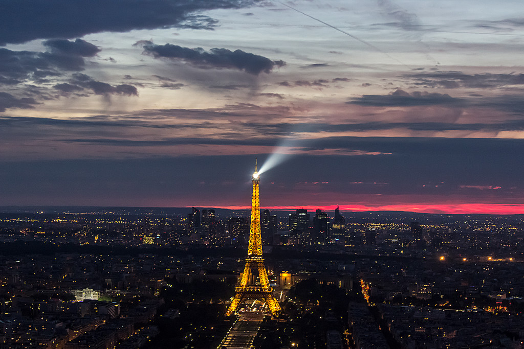 A night photo of the Paris and the Eiffel tower from Montparnasse Tower