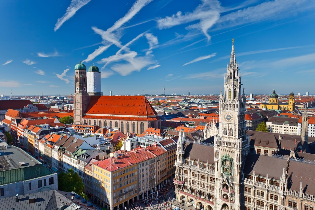View of the city of Munich from a vantage point.