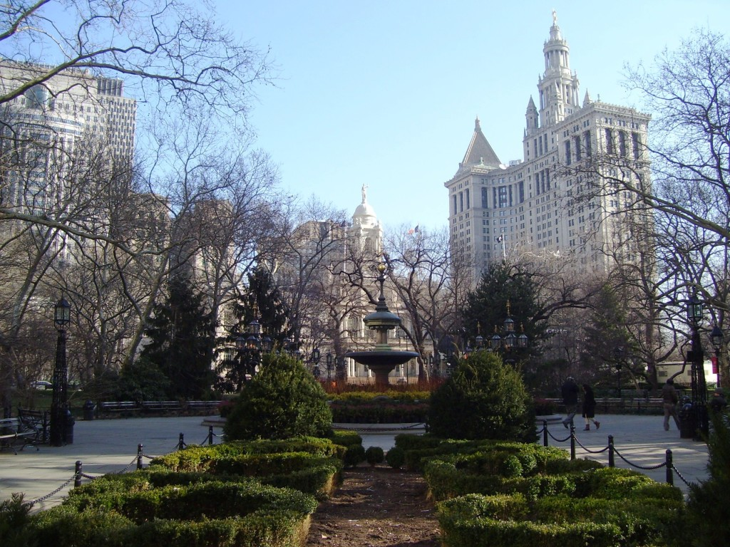 City Hall Park in winter from south with City Hall and Municipal Building